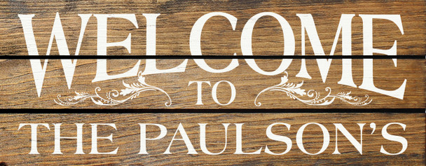 Pallet-Style Personalized Wood Sign | Welcome to the {Custom Name}'s | Sawdust City Sign in Walnut Stain & Cottage White