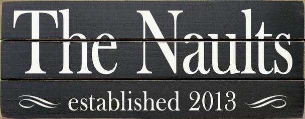 Personalized Pallet-Style Family Sign | The {Last Name} established {Your Date}  | Sawdust City Sign in Old Black & Cottage White