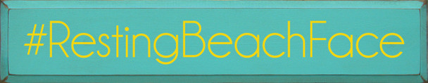 Shown in Old Aqua with Sunflower Lettering