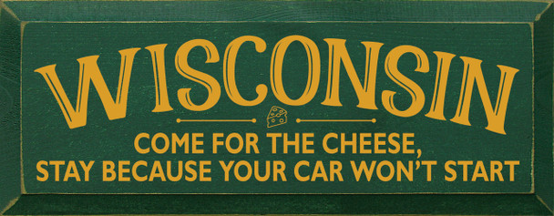 Shown in Old Green with Mustard Lettering