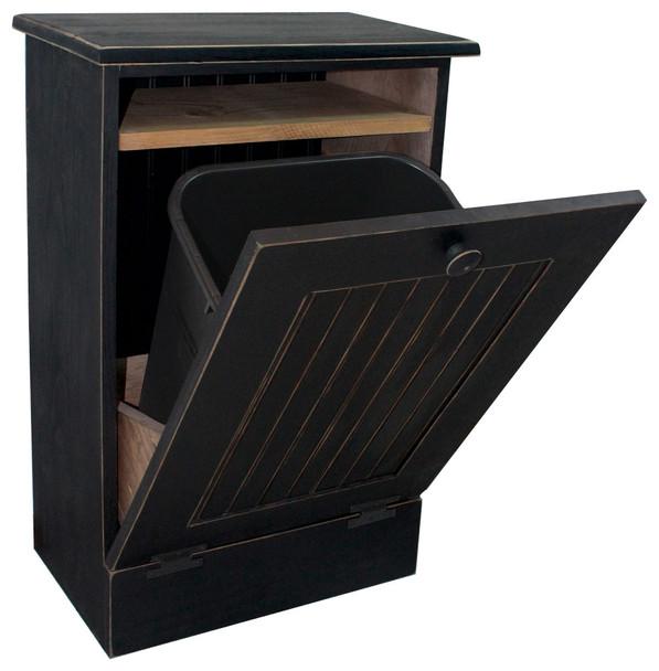 Wood Tilt-Out Trash Bin with Shelf (small) - Old Black