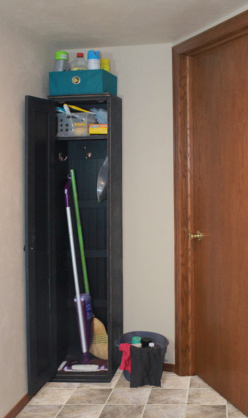 American Pine Broom Closet by Sawdust City - Shown in Old Black