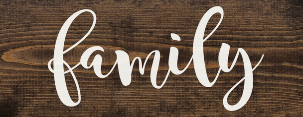"Farmhouse Style Family Sign - Solid Wood 7""x18"" Sign in Dark Walnut"