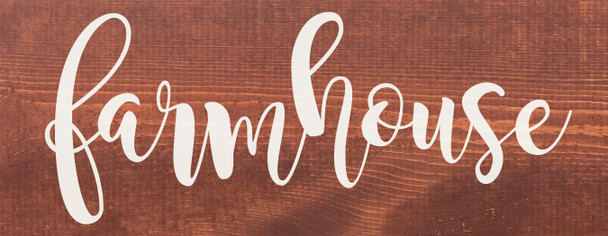 """Farmhouse Wood Sign - Solid Wood 7""""x18"""" Sign Stained in Warm Chestnut"""