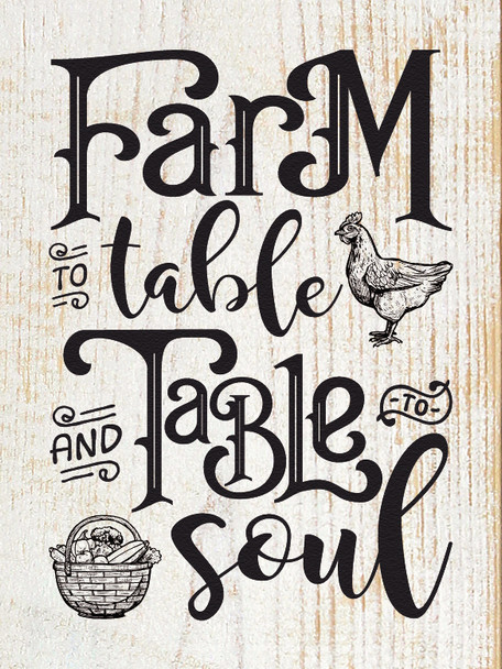 Rustic Wood Sign - Farm To Table - Sanded White Farmhouse Style Sign