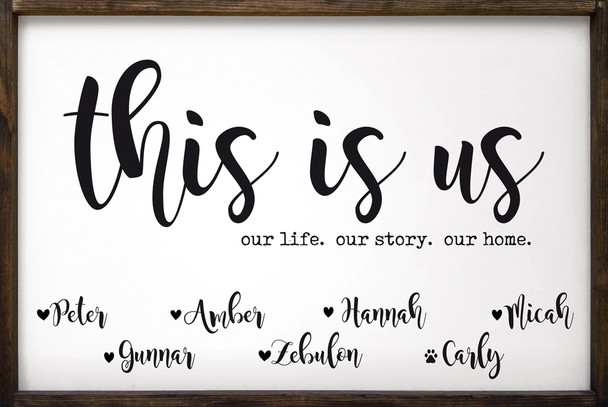 "24"" x 36"" Framed Family Sign - This Is Us (Personalized)"