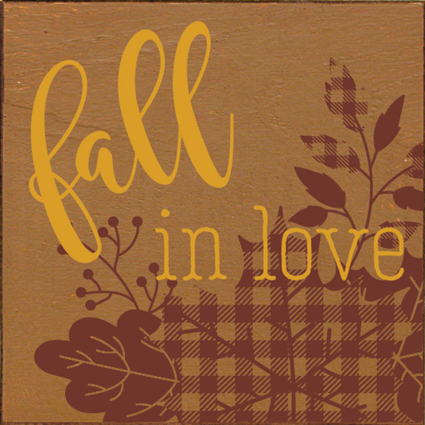 Cute Plaid Leaves Wooden Sign | Fall in Love | In Old Toffee with Burgundy & Mustard