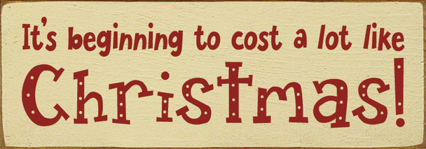 """Christmas 3.5x10"""" wooden pine sign on Cream with Red lettering"""