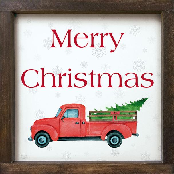 Merry Christmas (farm truck - framed)   Sawdust City Wood Signs