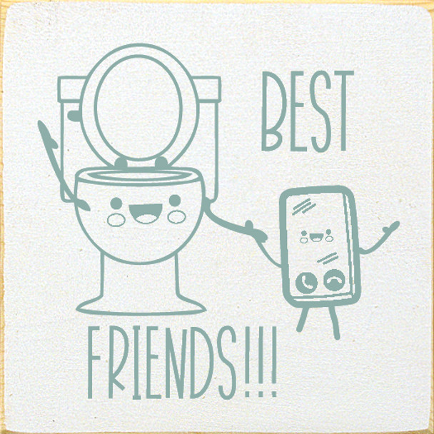 Best Friends (image of toilet and phone)  Funny  Wood Bathroom Signs   Sawdust City Wood Signs