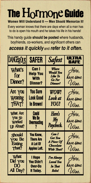 The Hormone Guide (funny chart)  |Funny Wood Sign | Sawdust City Wood Signs