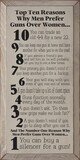 Top Ten Reasons Why Men Prefer Guns Over Women...  Funny Wood Sign  Sawdust City Wood Signs