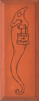 Trick Or Treat With Tall Ghost Picture   Seasonal Wood Sign    Sawdust City Wood Signs