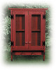 Shown in Old Burgundy with Screen doors