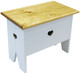 Small bench for home decor | Small 2' Storage Bench | In solid cottage white with stained top and optional heart cutout