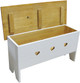 Open-view Rustic Knotty Pine Bench | Wood Storage Bench 3' Long | In Solid Cottage White and Stained Top with optional cutouts