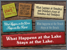 Wooden Signs With What Happens Sayings and Quotes