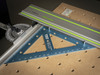 Another view of the PTR-18 squaring the Festool MFT/3 guide rail to fence.