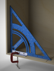 Use the clamping angles to secure the triangle upright - perfect for checking interior cabinet squareness.