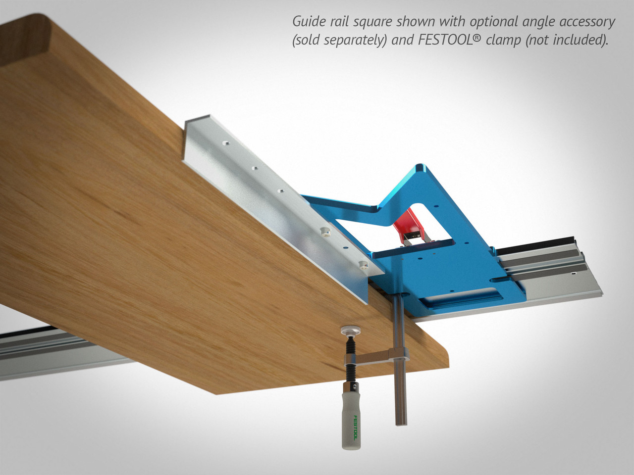 Notches in the guide rail squares accommodate the use of T-track clamps such as Festool's Screw Clamps and Quick Clamps. Shown here with optional Angle Accessory for extending the effective reference edge of your guide rail square.