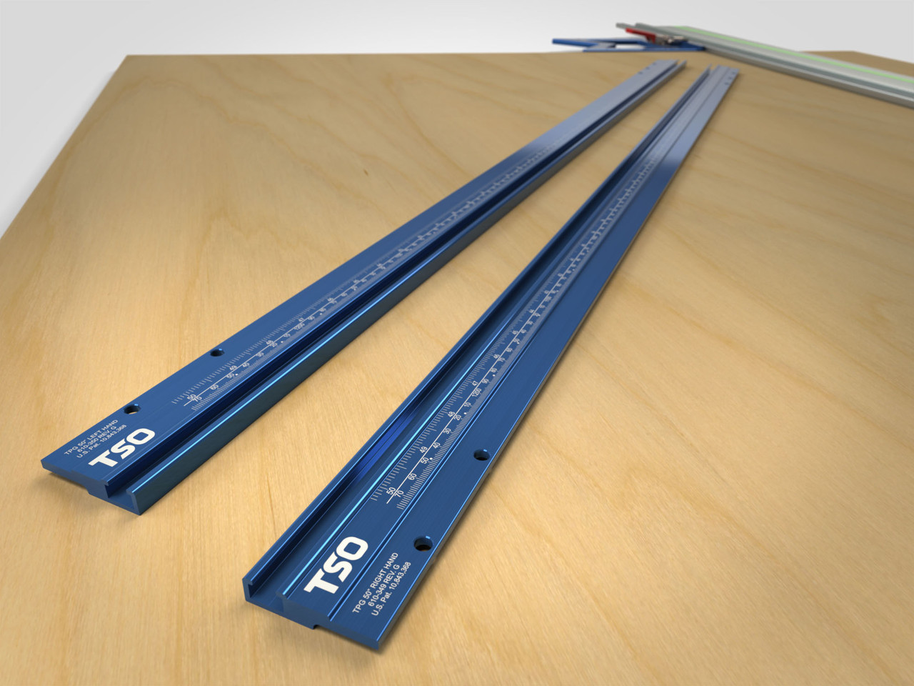 """Standalone pair of T-tracks with 50"""" (1,270mm) cutting width capacity, for use with TPG Parallel Guide System."""