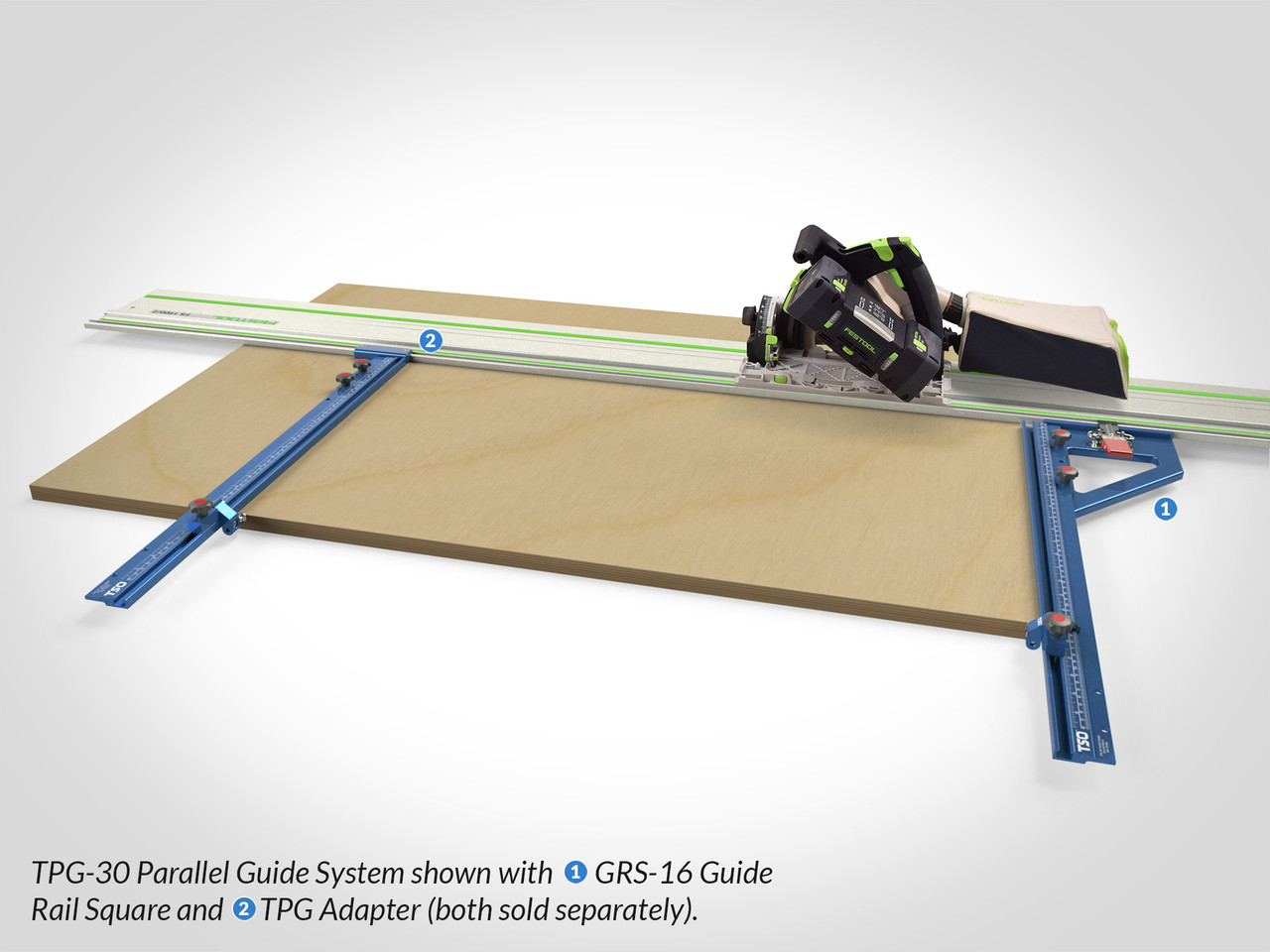 "TPG Parallel Guide System shown with 30"" T-tracks, with a GRS-16"" Guide Rail Square (right) TPG Adapter (left) for rock-solid guide rail connections."