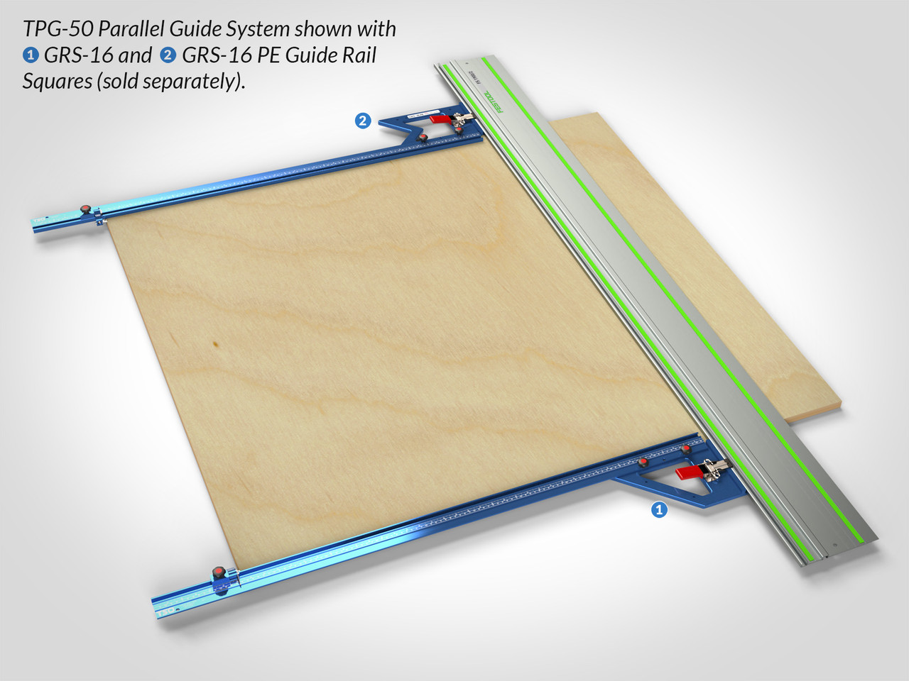 """TPG Parallel Guide System shown with 50"""" T-tracks and dual GRS-16 Guide Rail Squares for connection and squaring."""