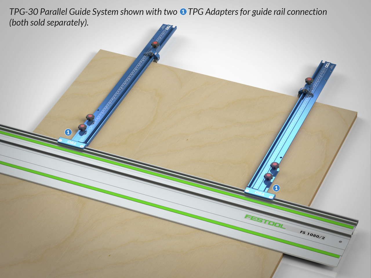 "TPG Parallel Guide System shown with 30"" T-tracks and dual TPG Adapters for connection to the guide rail."