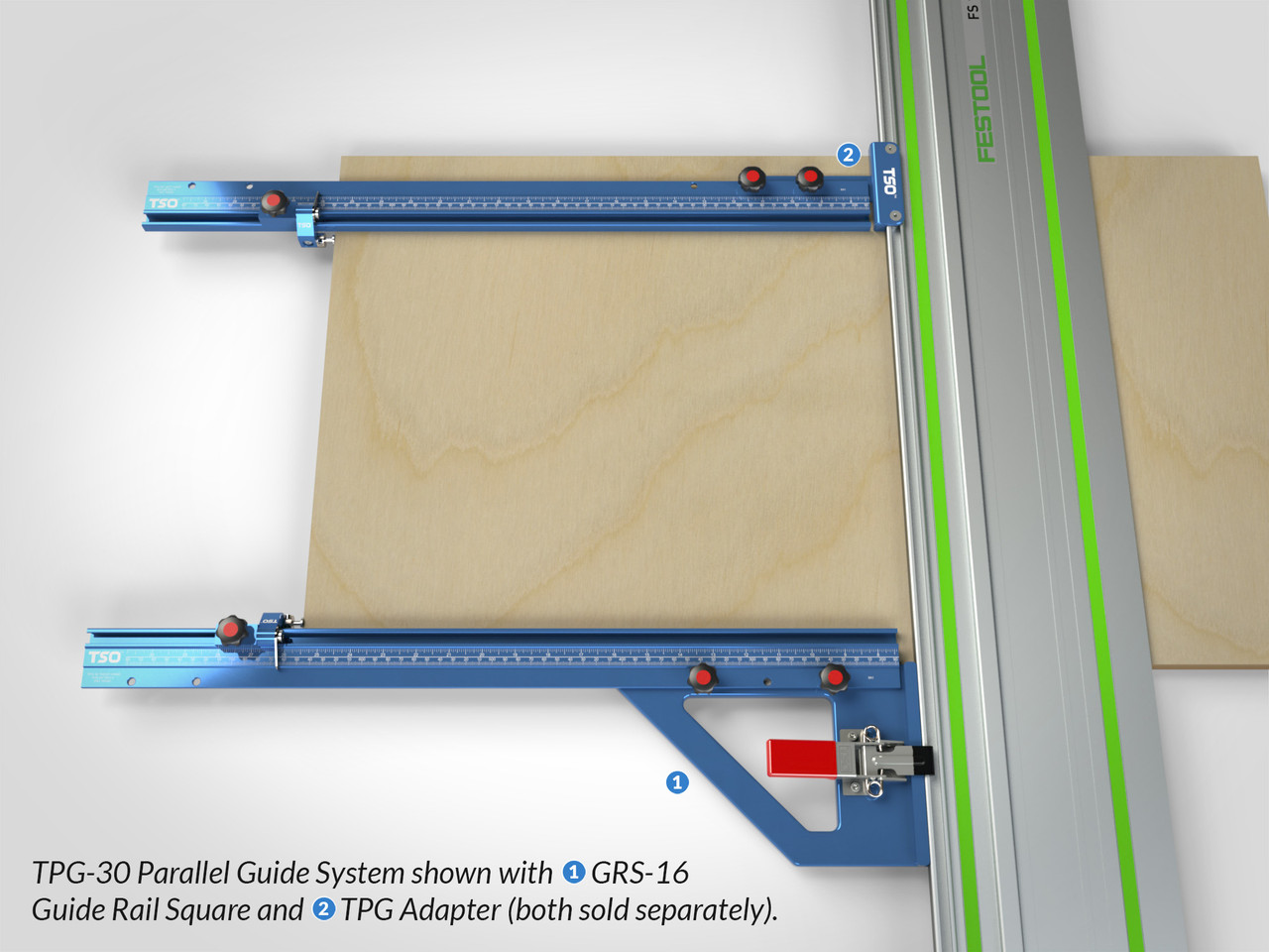 "TPG Parallel Guide System shown with 30"" T-tracks, along with a GRS-16 Guide Rail Square (near) and TPG Adapter (far) for connection to guide rail."