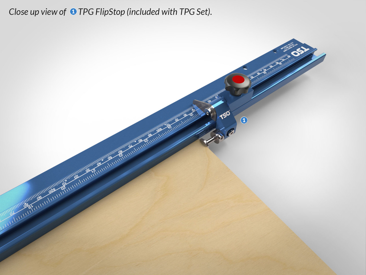 Close-up to TPG Reversible FlipStop v2.0, with exclusive calibration memory which eliminates the need to re-calibrate when switching between standard and narrow cutting rods.