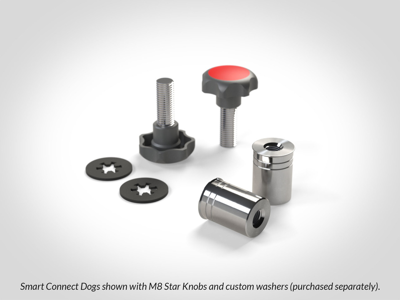 We recommend using Smart Connect Dogs with M8x1.25 clamping knobs such as our M8 SpeedKnobs or M8 Star Grip Knobs shown in this picture.