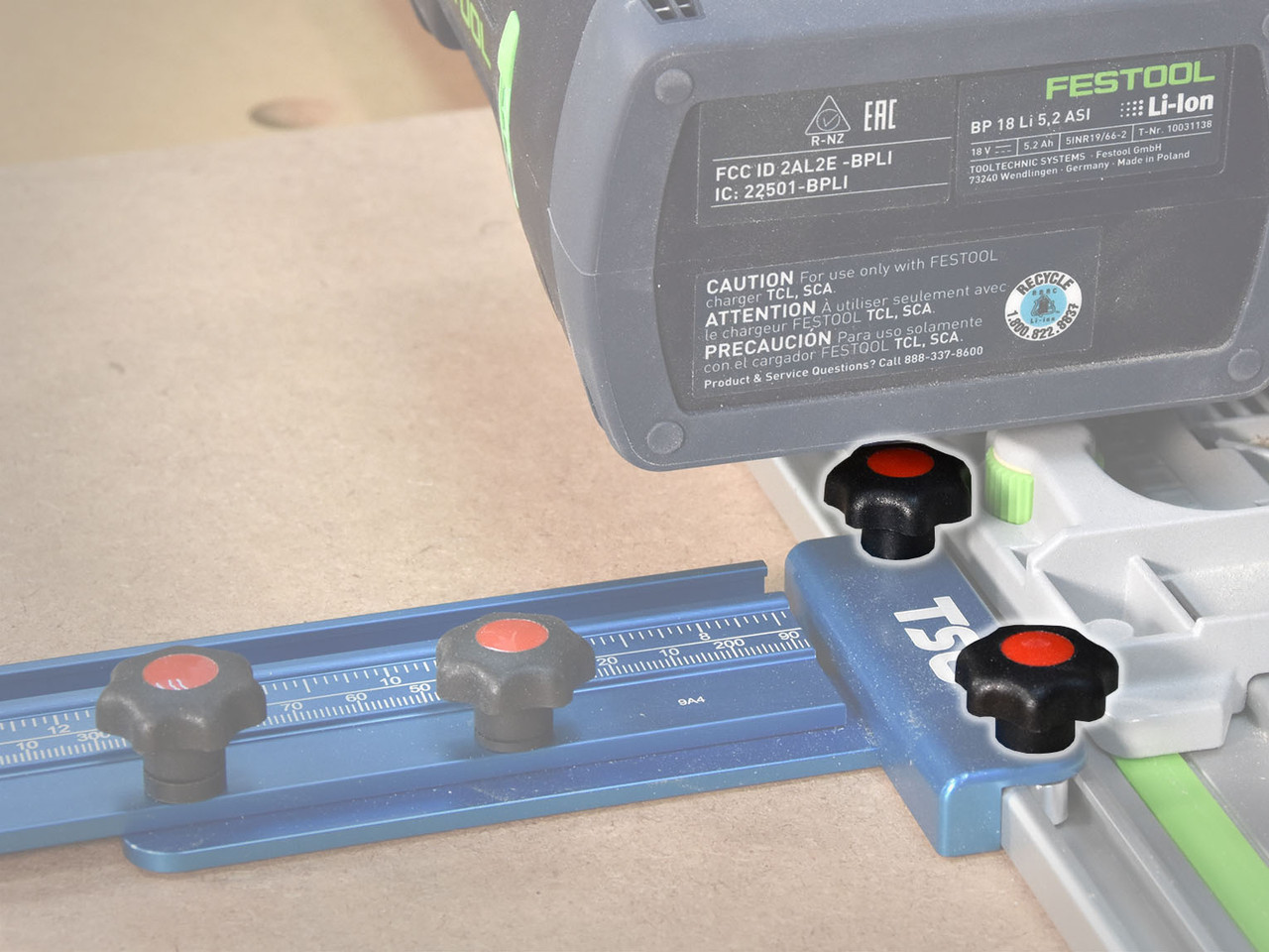 """The M5 Star Grip Knobs are short enough to avoid interference with the track saw motor housing and battery, so long as you don't need to cut more than 1.5"""" deep."""