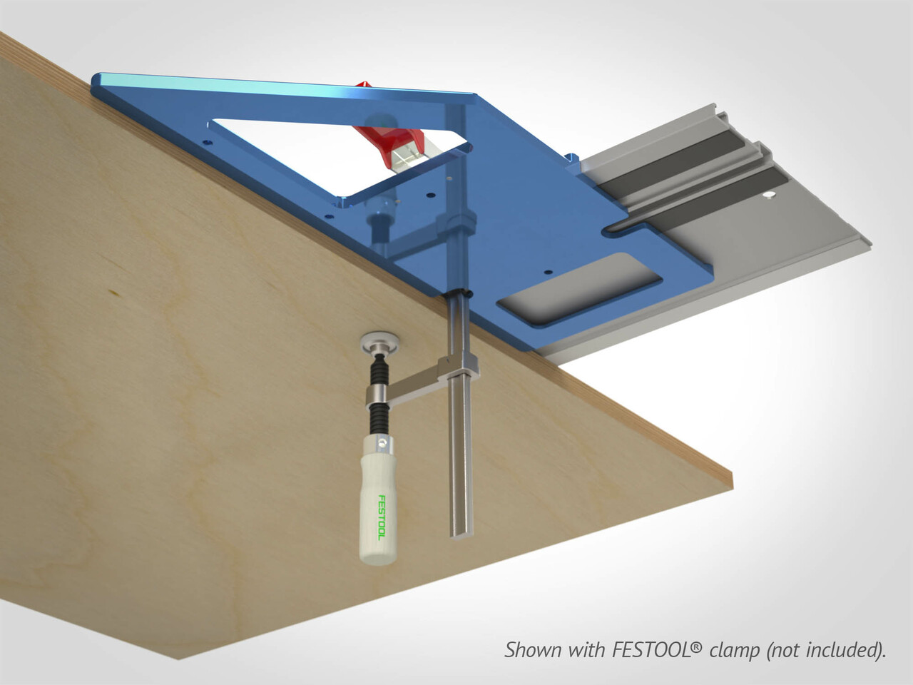 Integrated clamping slot enables use of Festool's screw or rapid clamps.