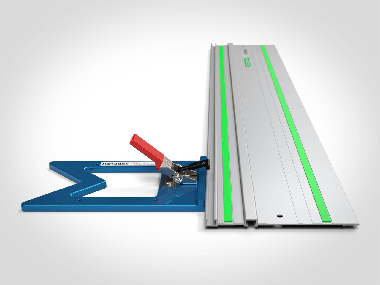 Simply slide the GRS-16 PE through the underside T-track on your guide rail, secure the clamping latch, and you're ready to cut!