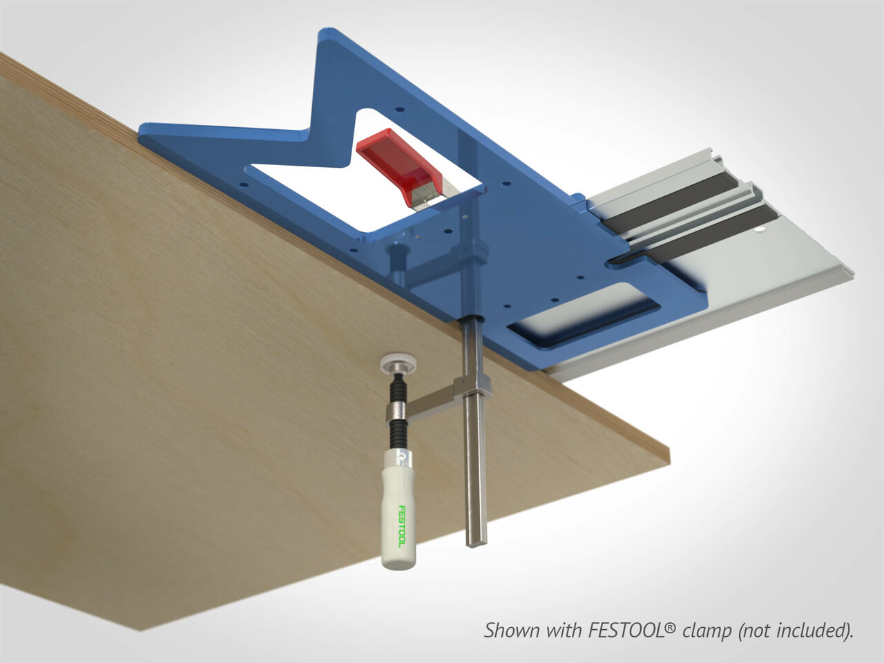 Clamping slots on both reference edges of the GRS-16 PE accommodate T-track clamps such as Festool's Screw Clamps and Quick Clamps.