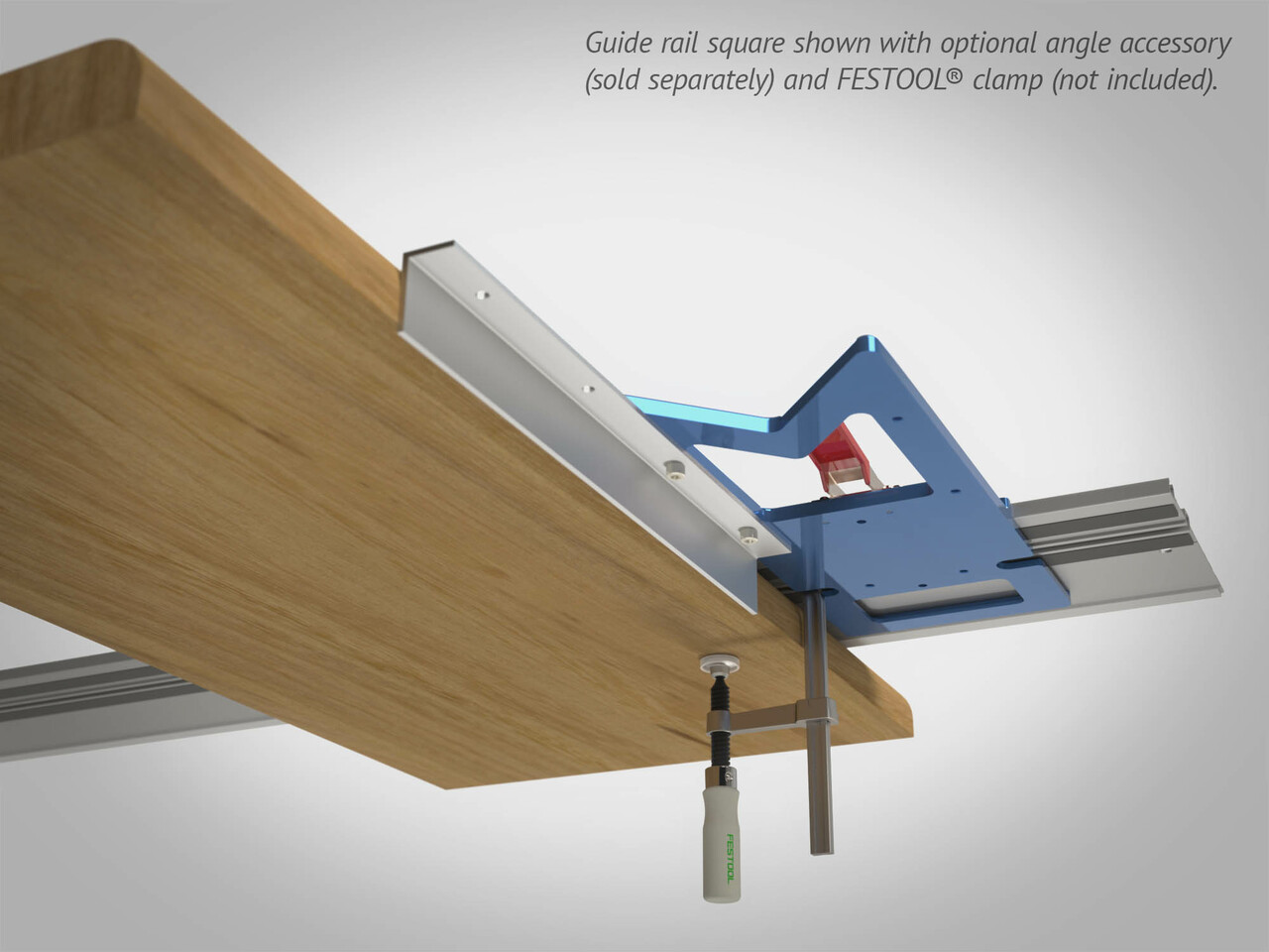 Extend your guide rail square's effective reference edge thickness and length with our optional Angle Accessory.