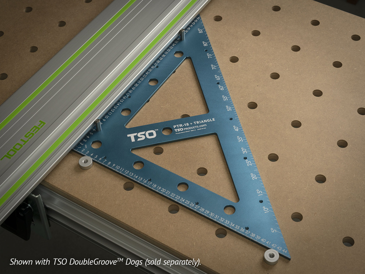 Using the long squaring pins that attach to the face of the PTR-18 and using either bench dogs (as shown) or the MFT/3 fence, you can quickly square a guide rail for perfectly straight 90 degree cuts.