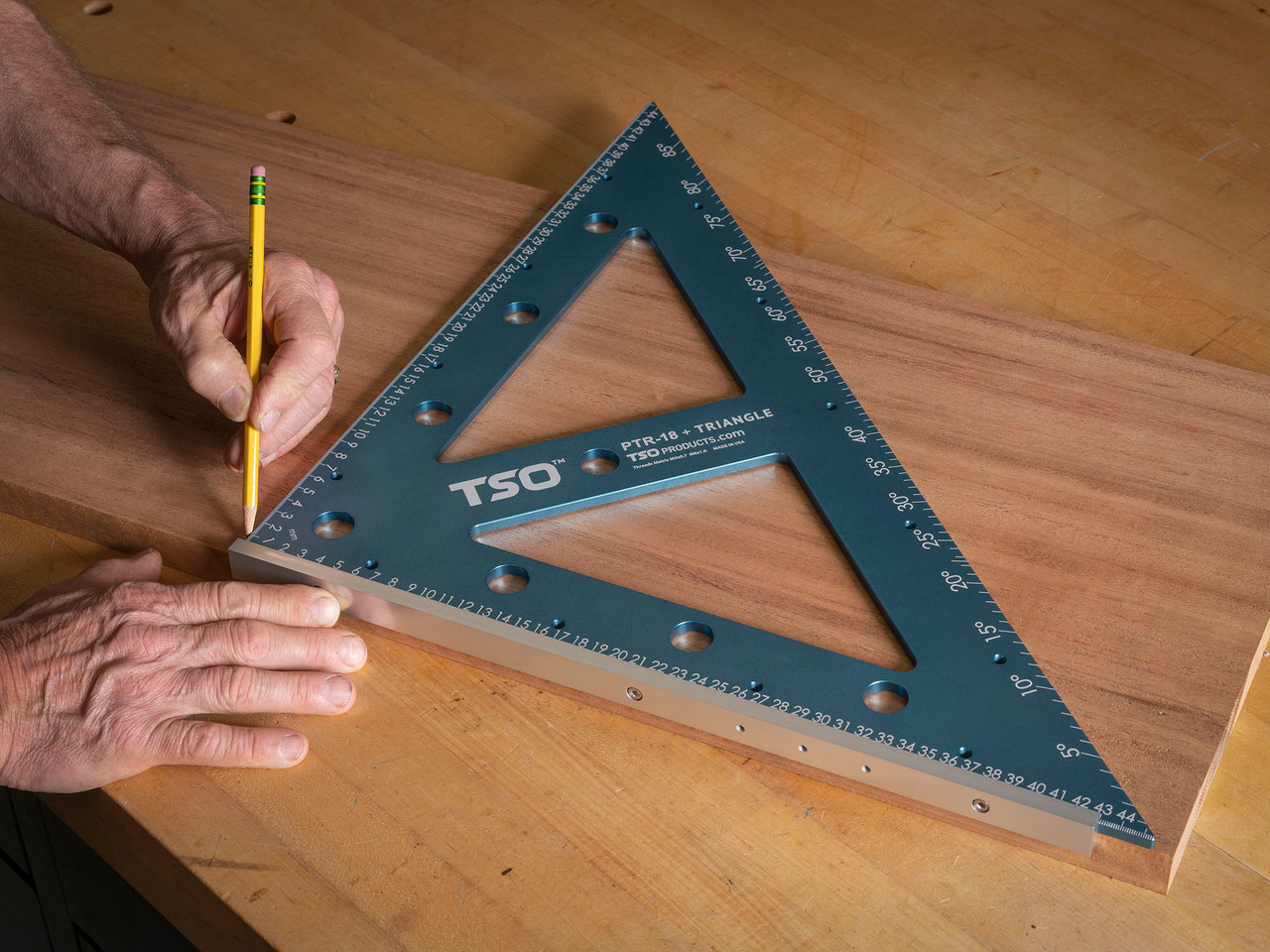 Traditional triangle duties, such as marking a workpiece, is fast and easy thanks to the PTR-18's removeable foot.