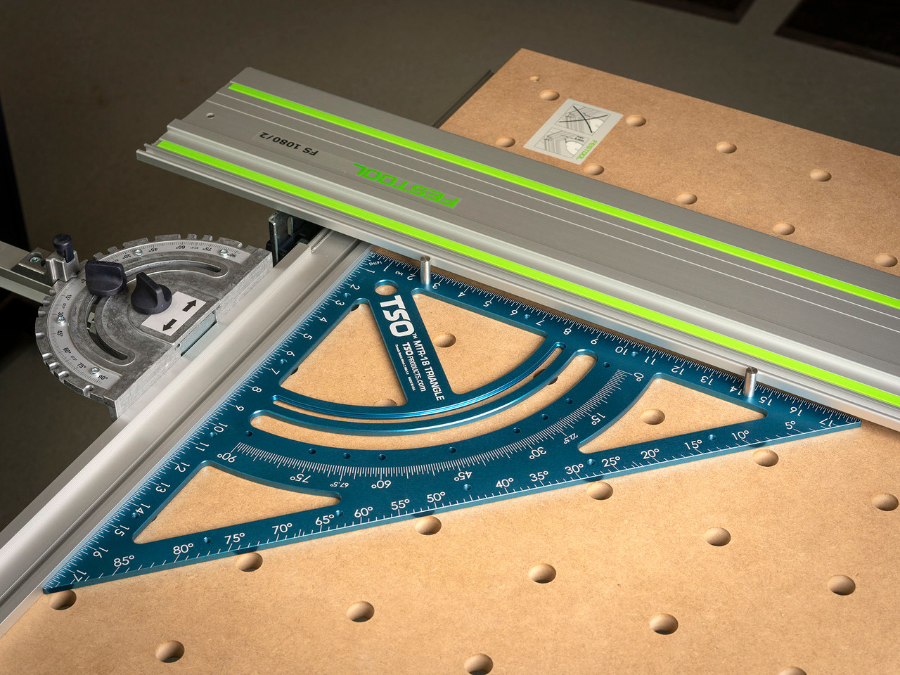 Use the MTR-18 to square your MFT/3 guide rail to fence - the single most important measurement to make before any cut!