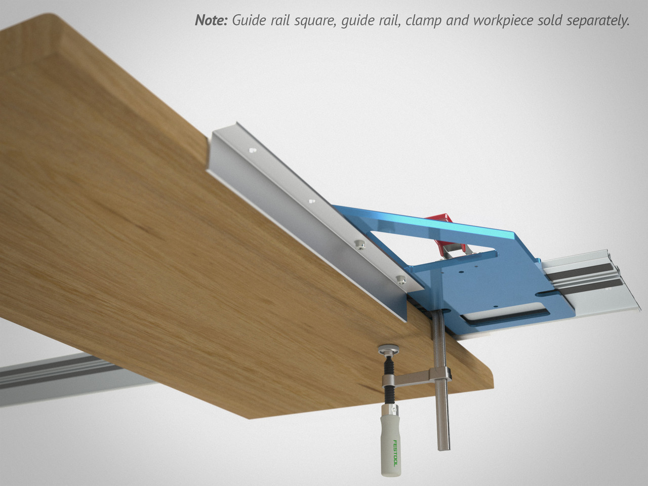 The Long Angle Accessory is shown here, attached to a GRS-16. Use it to effectively extend the reference edge of your guide rail (both length and depth projection).