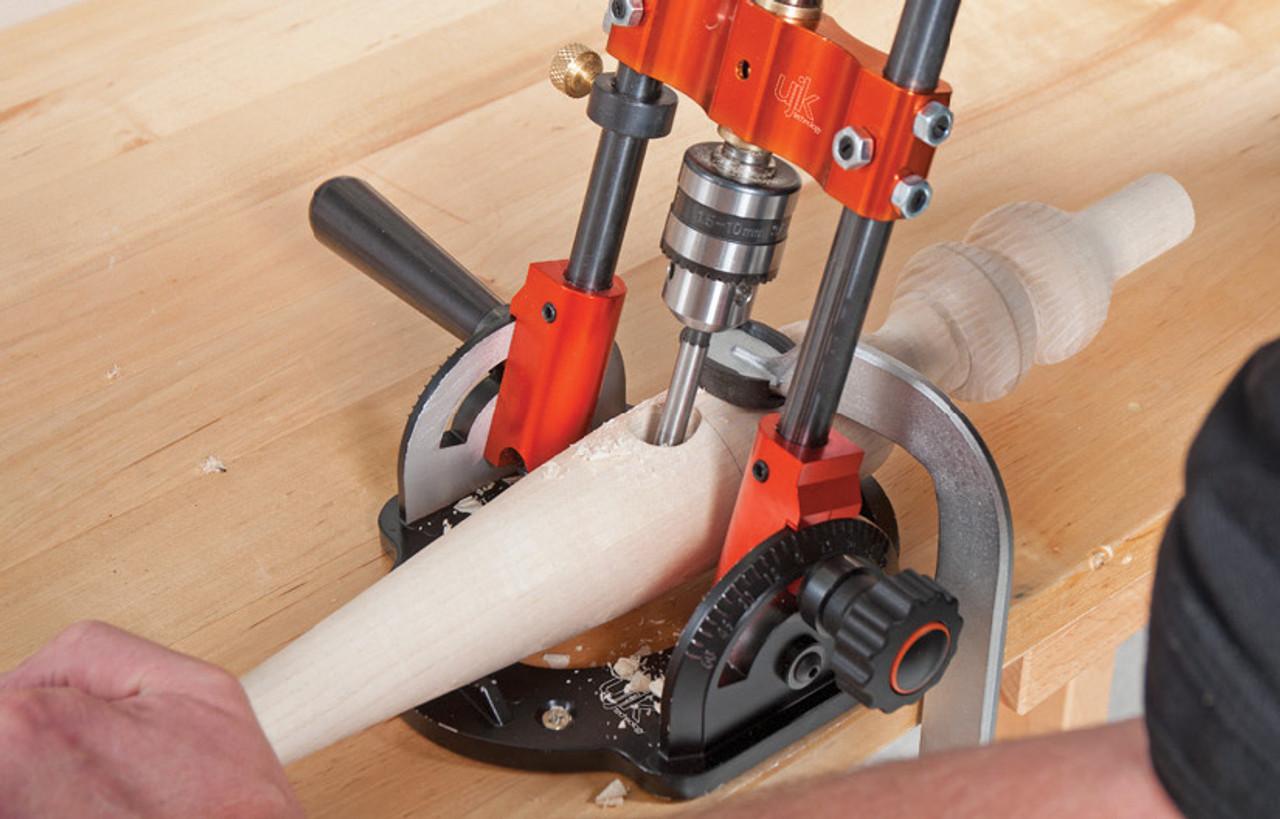 The UJK drill guide can be used to drill rounded material, ideal for chair legs.