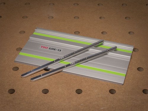 """The GRE-13 Guide Rail Extension comes with everything pictured here - a 13"""" length of Festool guide rail and our auto-aligning GRC-12 guide rail connectors."""