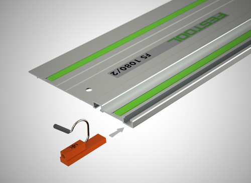 Guide rail clips slide into the extrusion slot in your Festool guide rail -- and they don't interfere with the operation of your track saw. (Guide rail not included.)