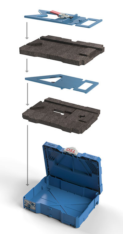 The Dual FoamPac Systainer Insert protects both your GRS-16 and GRS-16 PE guide rails at the same time!