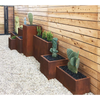 This product features from right to left: Corten Steel Window Box Planter, Corten Steel Cube Planter, Corten Steel Span Planter, Corten Steel Pedestal Planter.