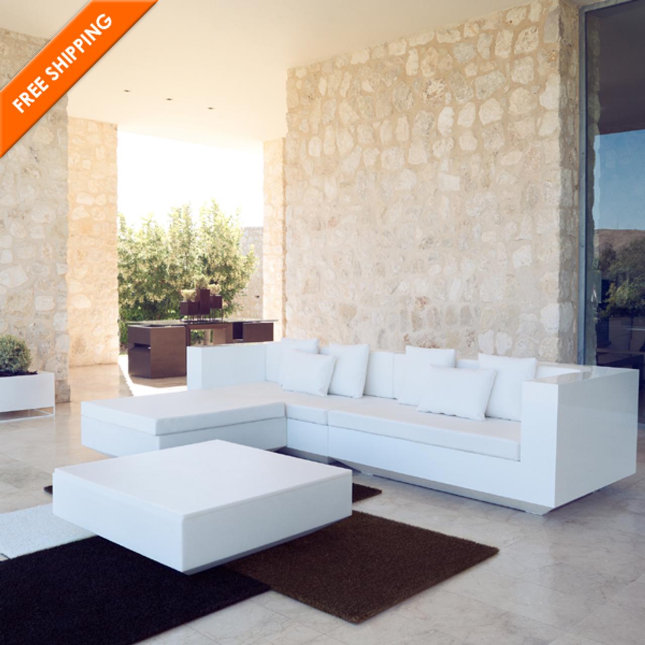 Vondom Vela Resin Sectional Sofa Chaise Lounge