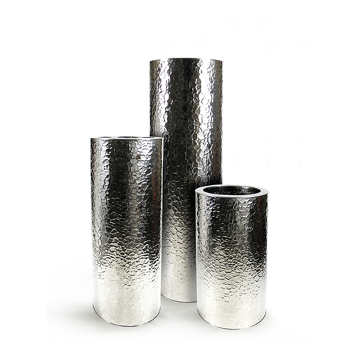 Hammered Stainless Steel Cylinder Planter