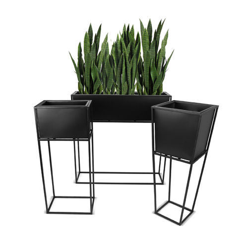 Stainless Steel Rectangular Modern Planter With Stand