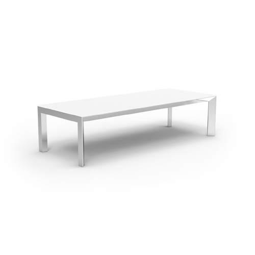 "Lacquered White Aluminum Base with White HPL Tabletop (Black Edge) - 118"" x 47¼"" x 30"""