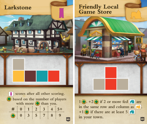 Tiny Towns FLGS and Larkstone Promo Cards